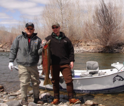 Wayne and Neil with one of the biggest spring steelhead we have caught