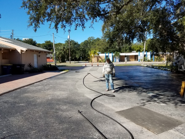 Parking Lot Sealcoating and Striping Before