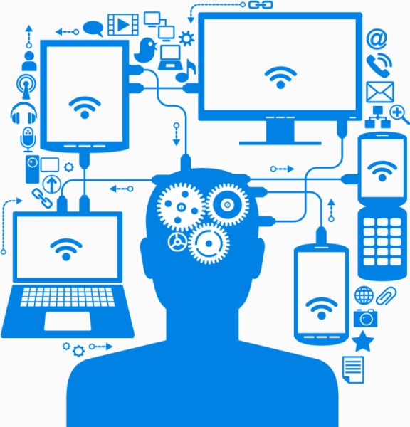 Human Head Surrounded By Laptop, Tablet, Monitor, Smart Phone, Email, Networking, Symbols