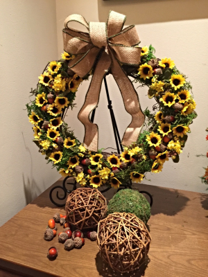 Small Fall Wreath with Faux Flowers