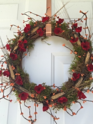 Faux flowers wreath