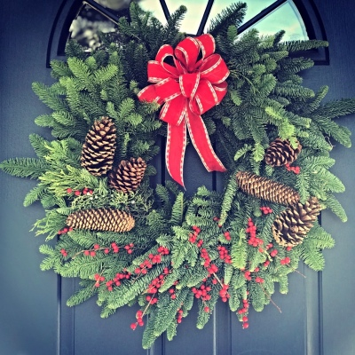 Fresh Ilex and pine cones wreath