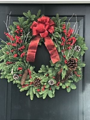 Pine cones and white birch holiday wreath