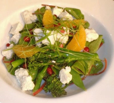 Goats curd , baby red chard, orange and tender steam broccoli salad - My Private Chef