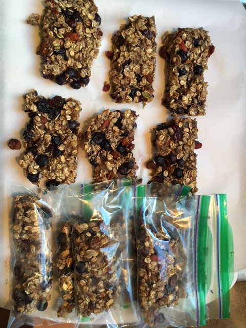Breakfast Bars ready for storing