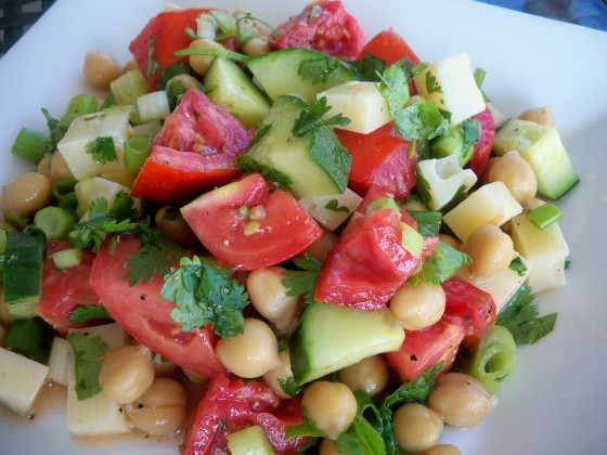 Chickpea Salad with Tomatoes & Alaskan Basil