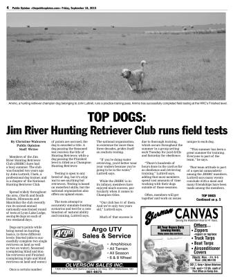 Watertown Public Opinion: TOP DOGS: Jim River Hunting Retriever Club runs field tests