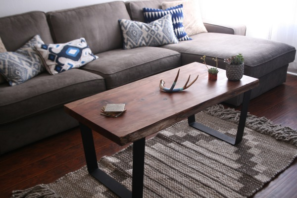client living room featuring our live edge coffee table