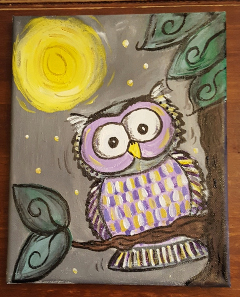 Canvas Owl Painting