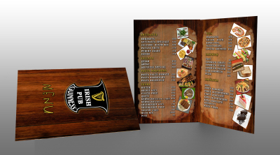 Irish pub guiness bar menu