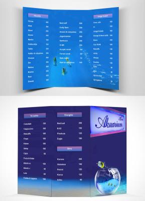 Aquarium bar menu