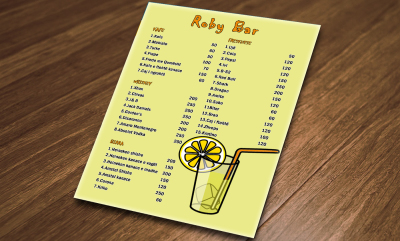 Roby Bar menu