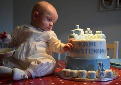 choo-choo train christening cake from £125