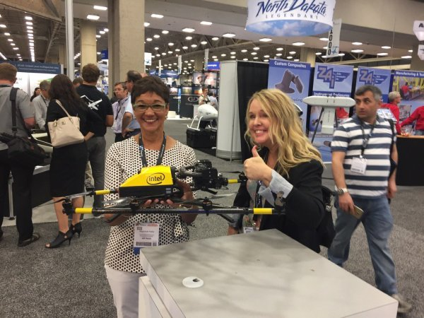 Enjoying the exhibits at the xponential UAV conference