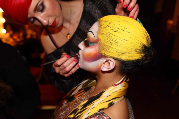 yellow body painting, yellow body paint, high fashion makeup, kathryn Robbins, face painting, theatre makeup