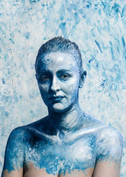 blue body painting, impressionist body paint, high fashion makeup, kathryn Robbins, face painting, theatre makeup