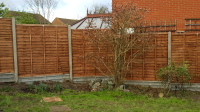 Fence panels using concrete posts and gravel boards