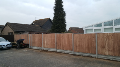 5 ft close board fence panels.12 inch concrete gravel boards.8 ft concrete slotted posts.newport pagnell