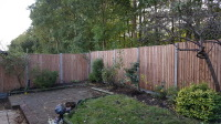 close board panels on concrete posts and gravel boards