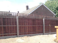 Close board fencing using concrete posts and gravel boards.trellis
