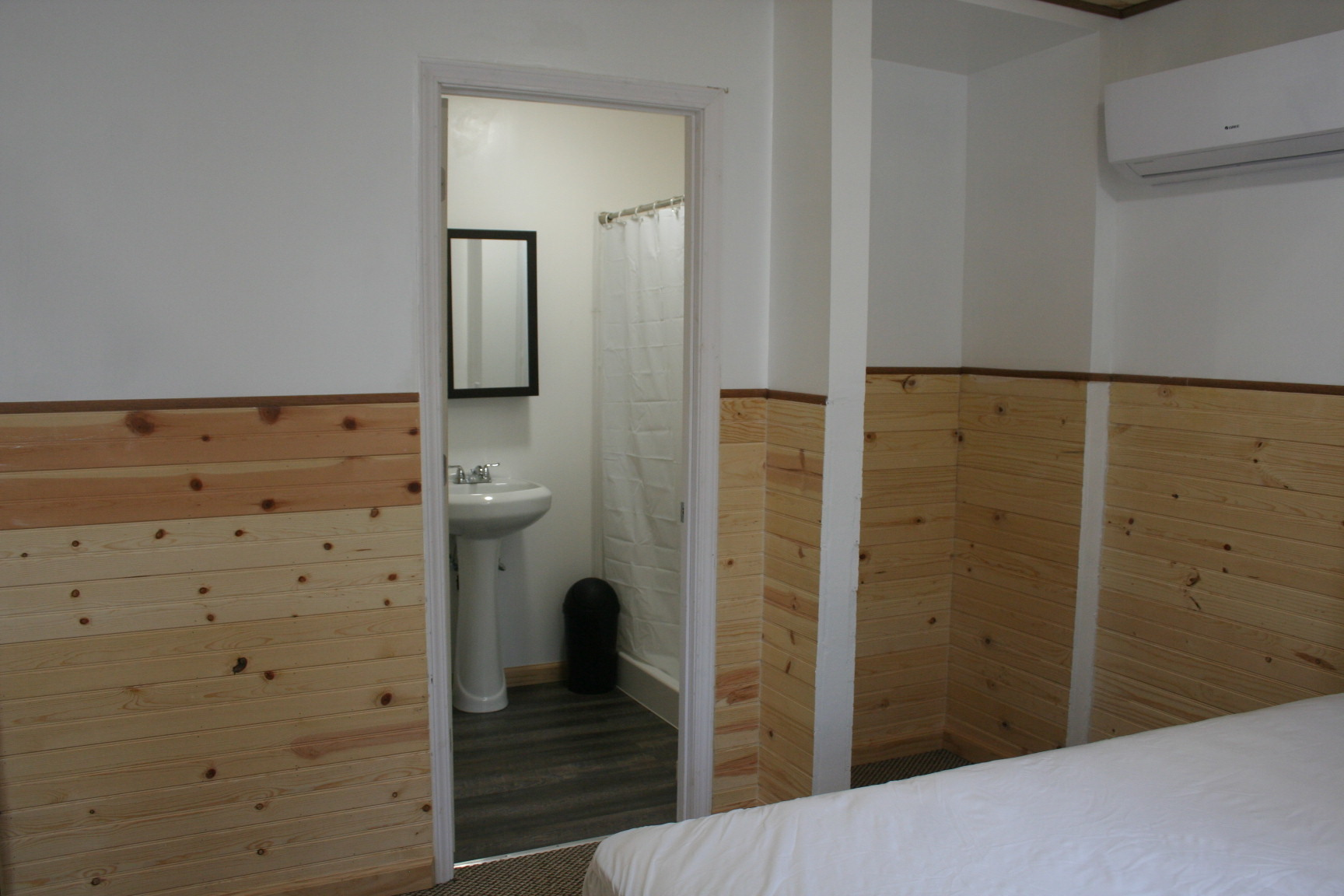 Bedroom looking into Bathroom in Cabin #2