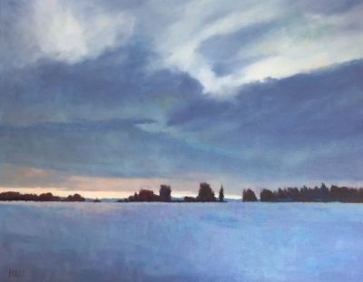"Winter Sunset                                                    $2100.00                                                      24x30"" Oil on Canvas"