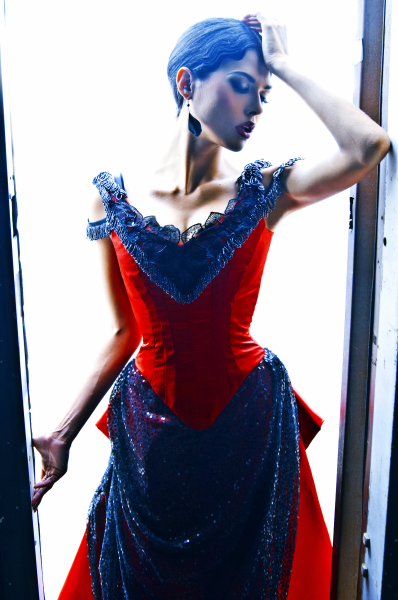 red dress corset front
