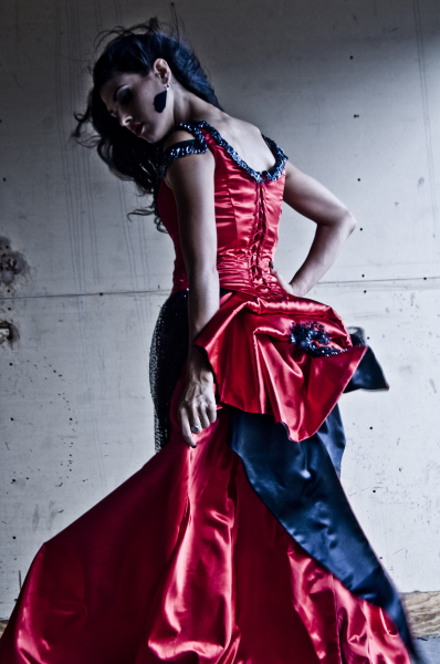 red dress bustle