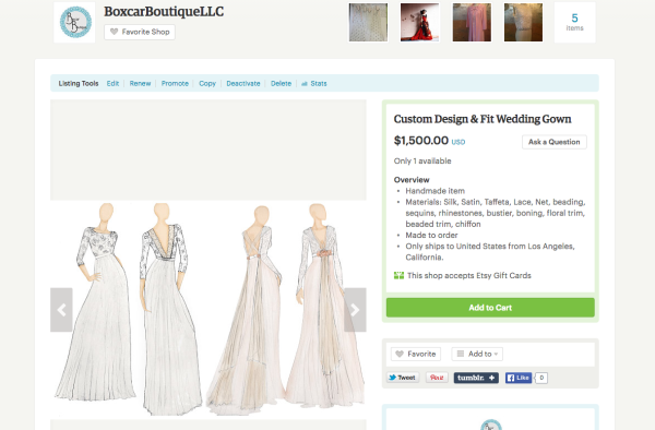 Custom wedding gown listing on Etsy