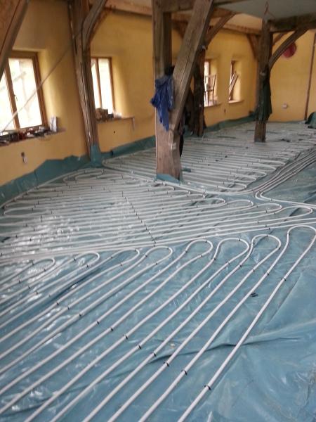 Underfloor Heating, Strawbale Building, Eco Centre, Felin Uchaf, CLAS