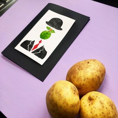 Potato Print Handmade card