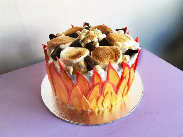 Flaming S'mores Cake