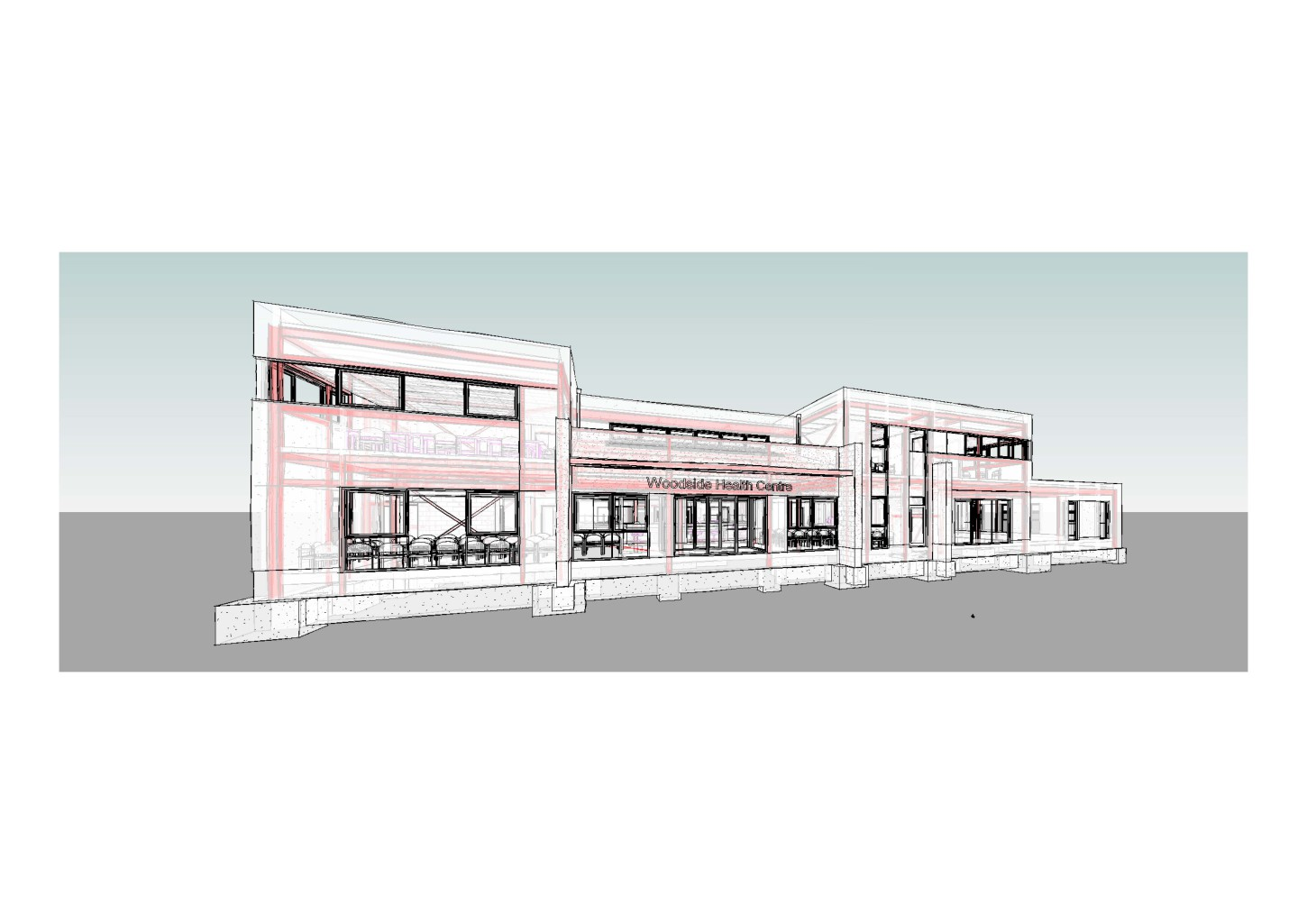 Visual of Woodside Health Centre taken from Revit, a BIM platform