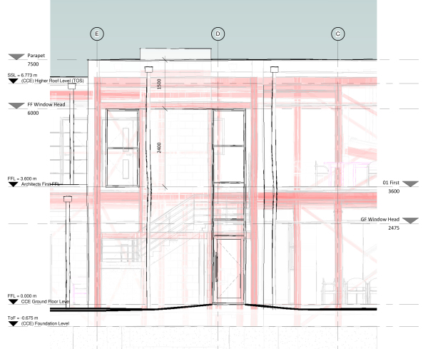 Elevation of a project taken from Revit