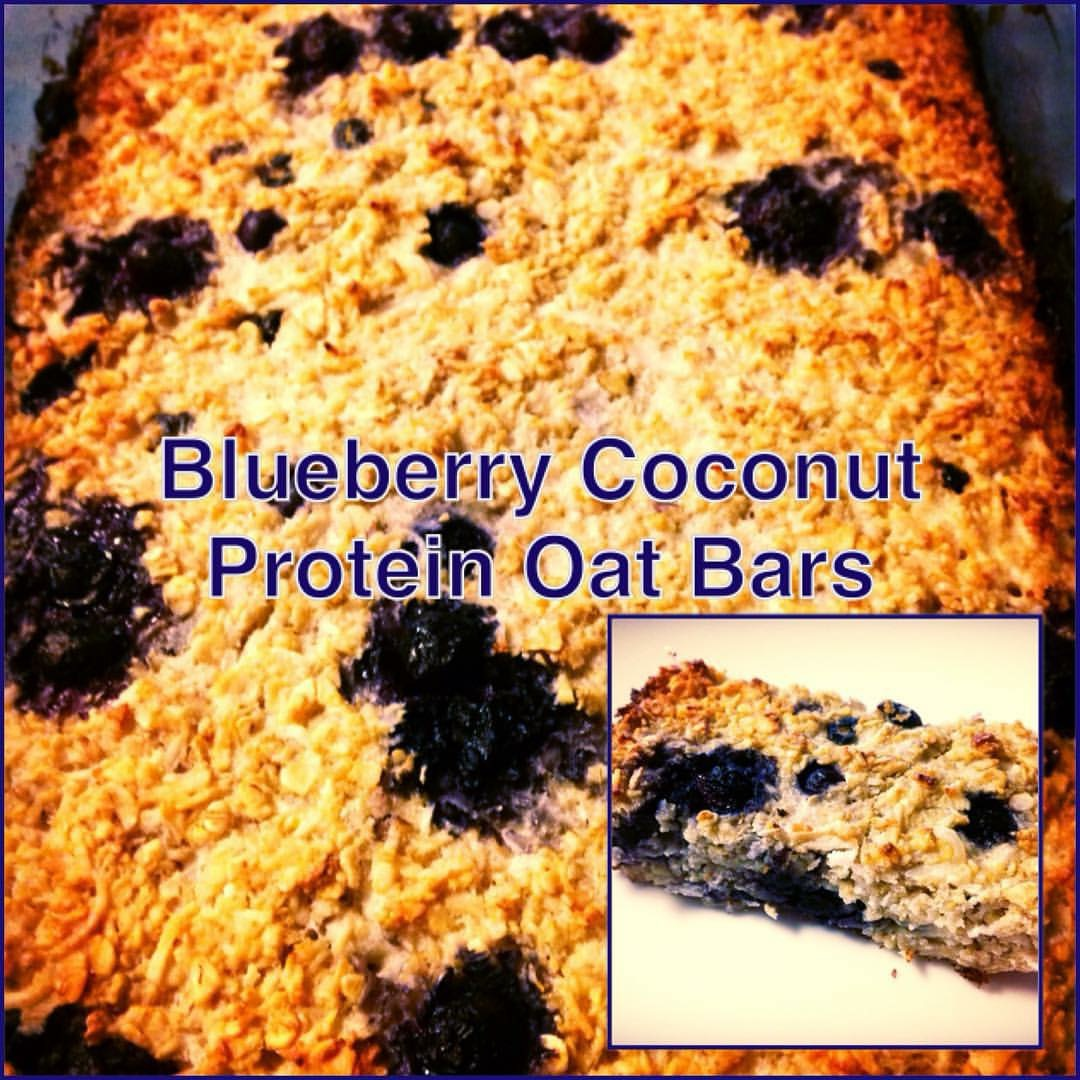 Blueberry Coconut Protein Oat Bars