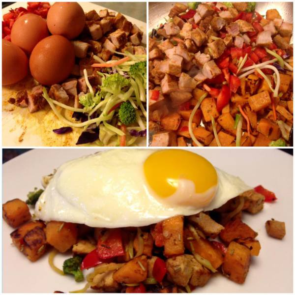 Egg Topped Pork and Sweet Potato Hash