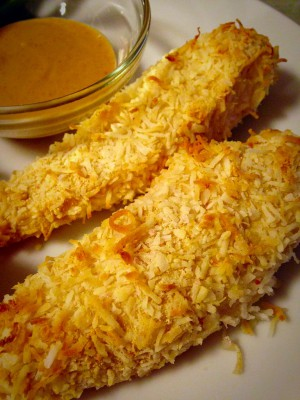Baked Coconut Chicken Tenders with Spicy Peanut Peanut Sauce