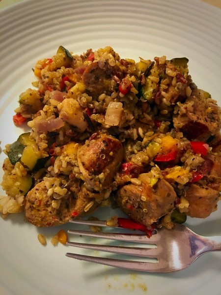 Turkey Sausage, Quinoa and Wild Rice Bake