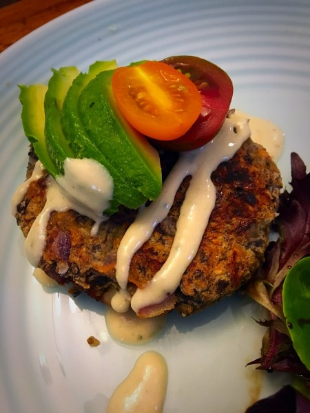 Vegan Black Bean Burgers with Tahini Drizzle