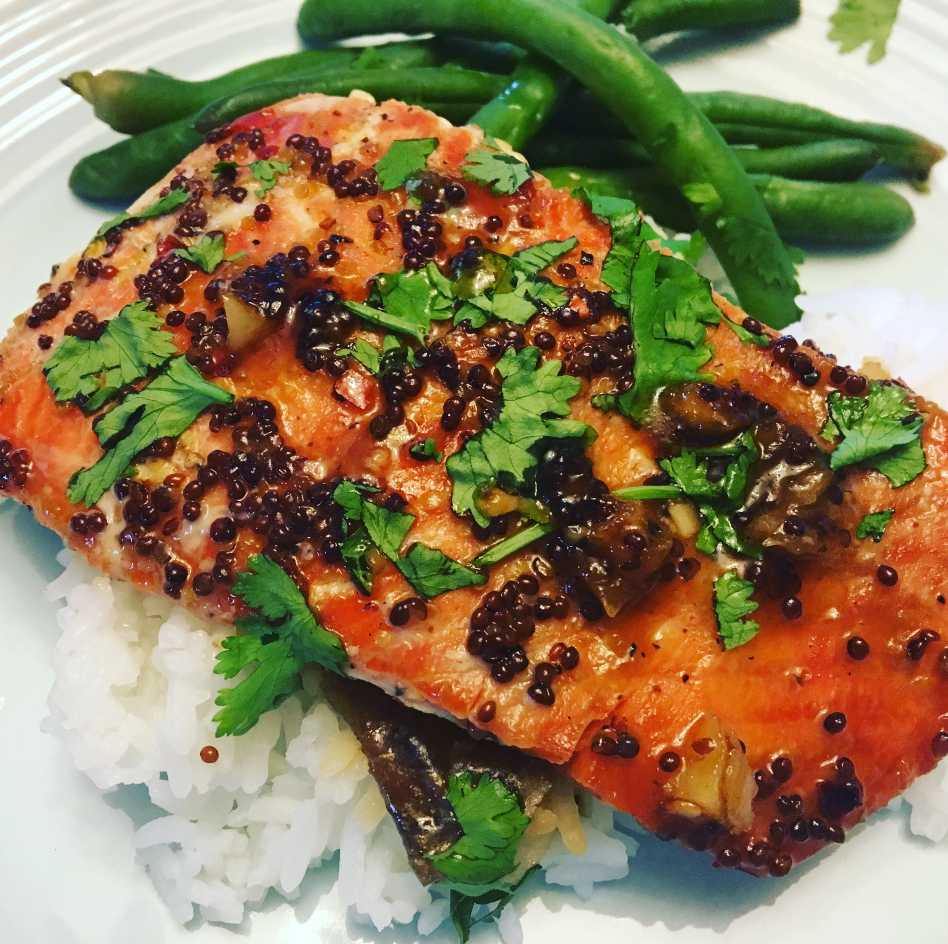 Spicy Honey Mustard Glazed Salmon
