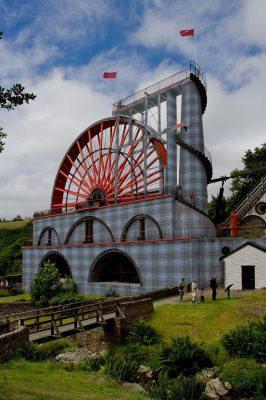 The Great Laxey Wheel in Manx Tartan garb.