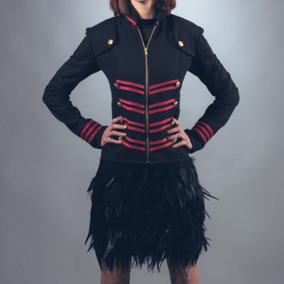 Military Style Jacket with Black Feather Skirt