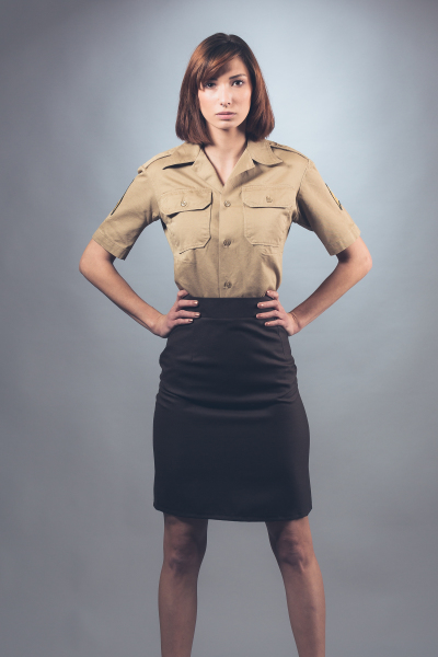 Pencil Skirt and fitted Military Shirt