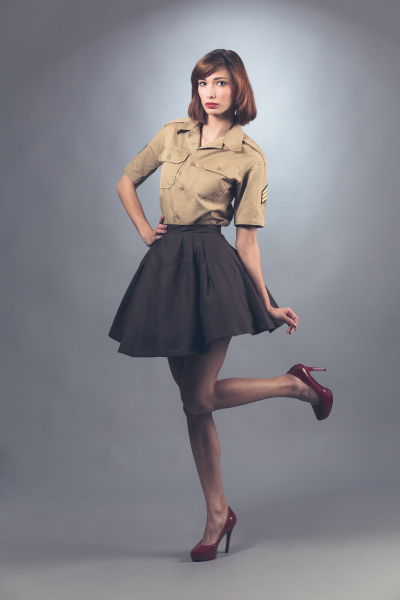 Skirt and Military Style Shirt