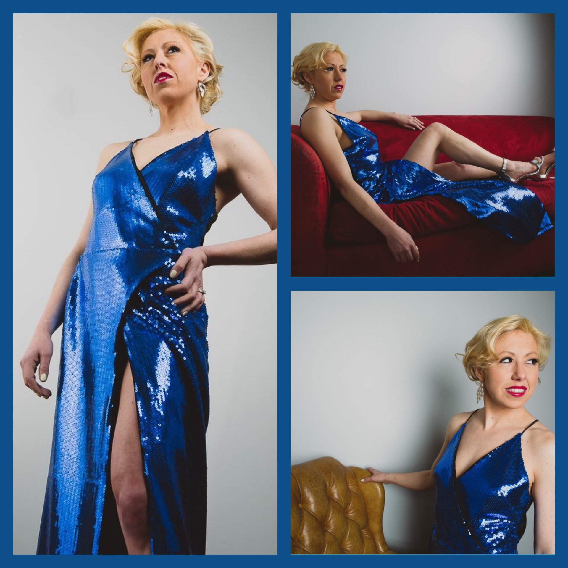 Blue Sequin Wrap Dress