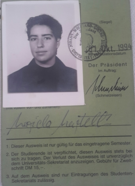 Student ID of 1994 for my studies in law at Goethe University Ffm