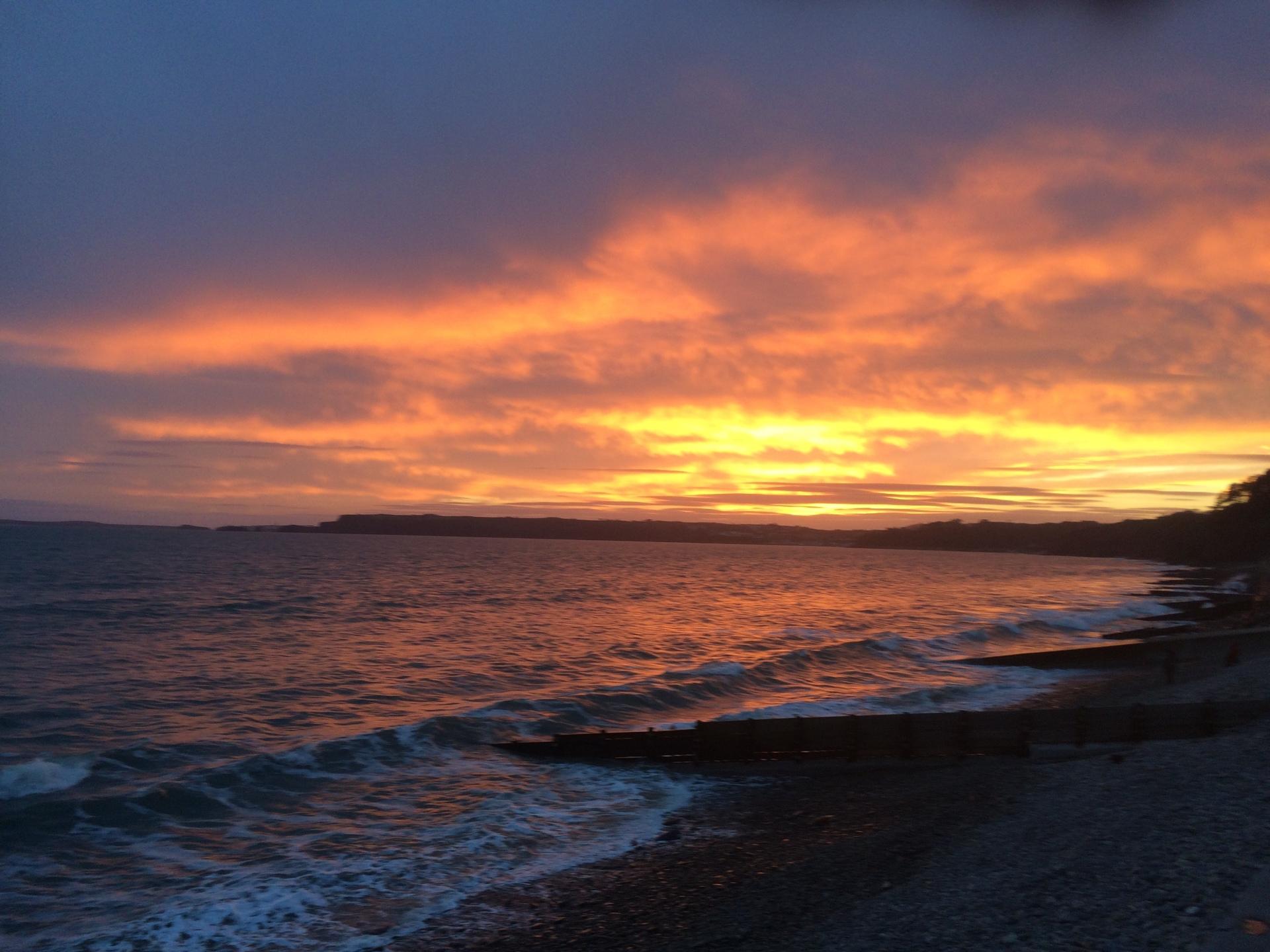 Sunset over Amroth Beach