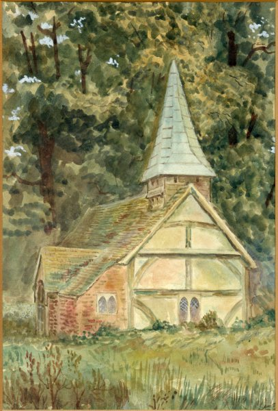 The original wooden parish church