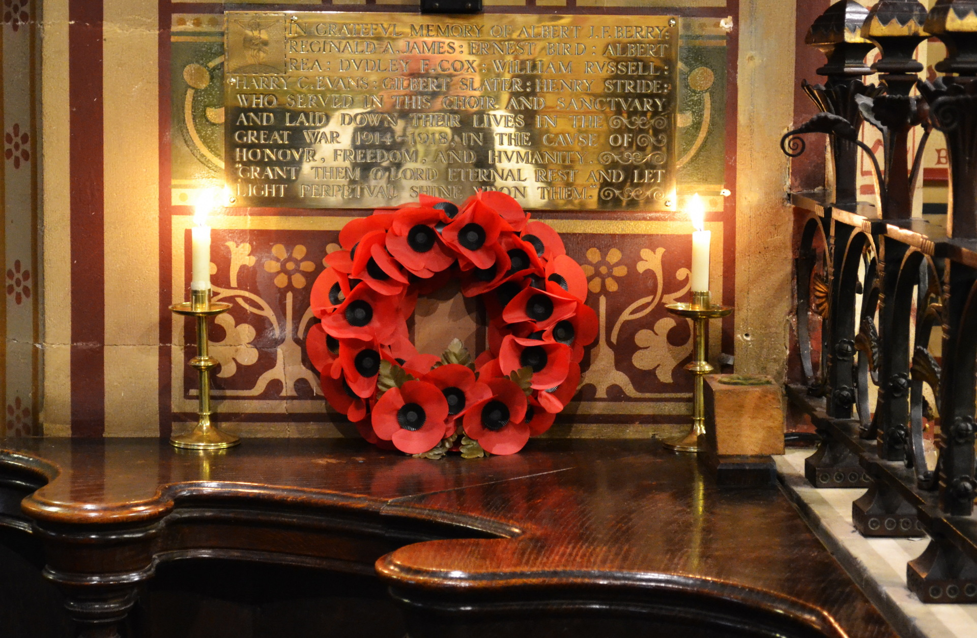 The brass War Memorial in the church which lists their names