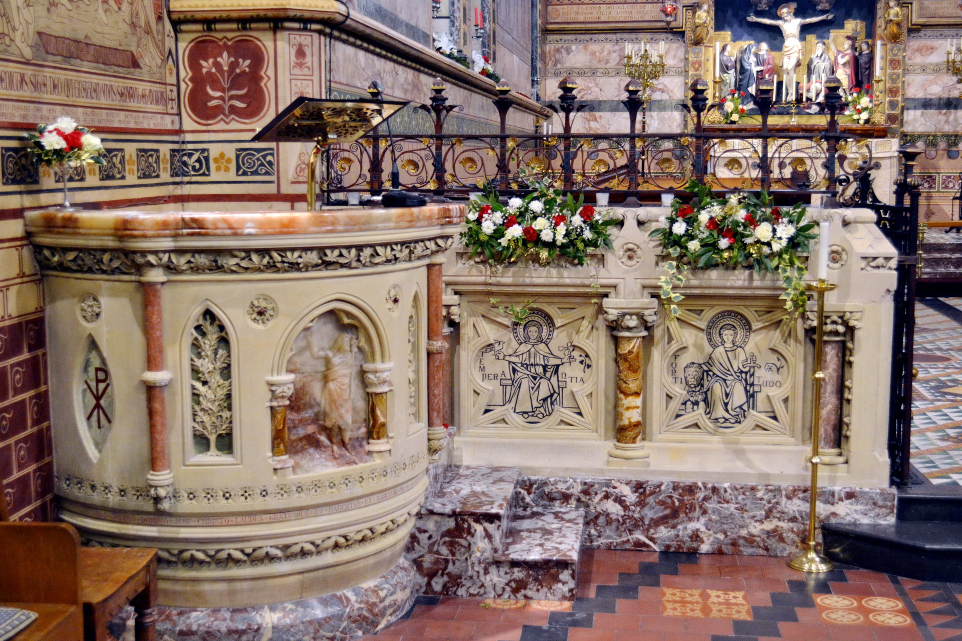 The pulpit and left side of screen